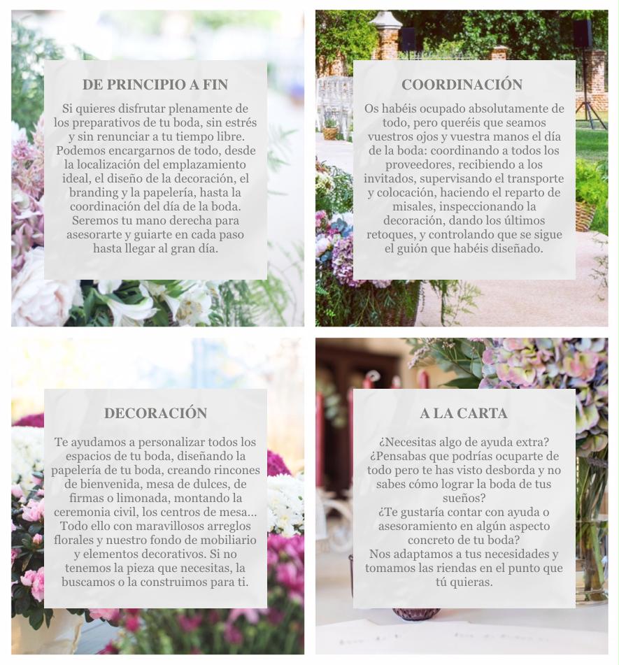Servios de organización y diseño de bodas, wedding planner Madrid. Servicios de Wedding planner