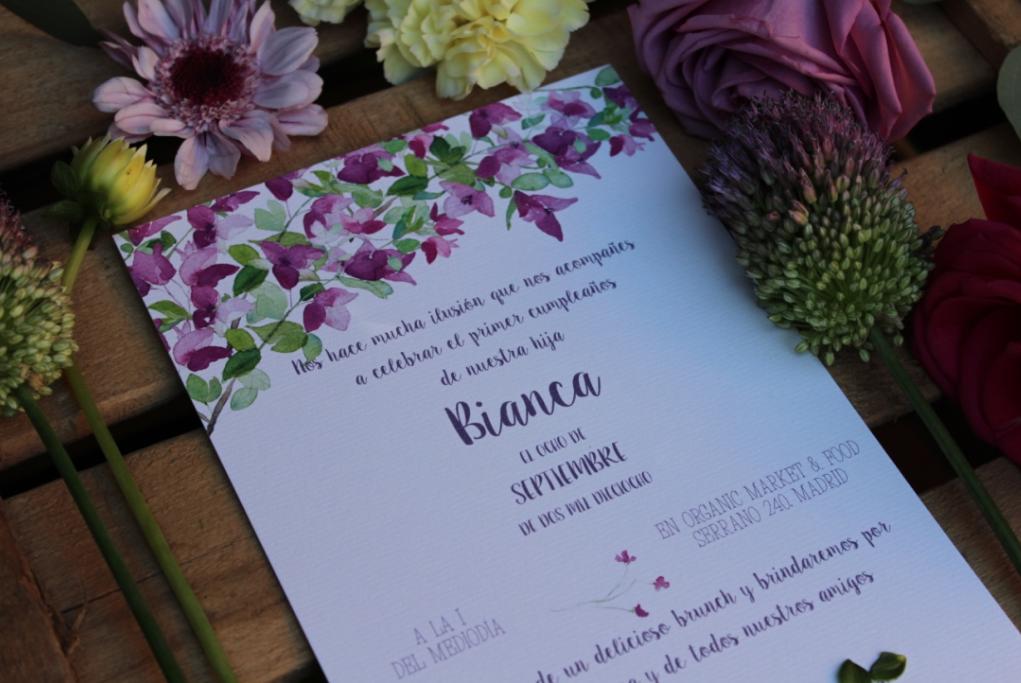 invitaciones de boda personalizadas a acuarelas de buganvillas