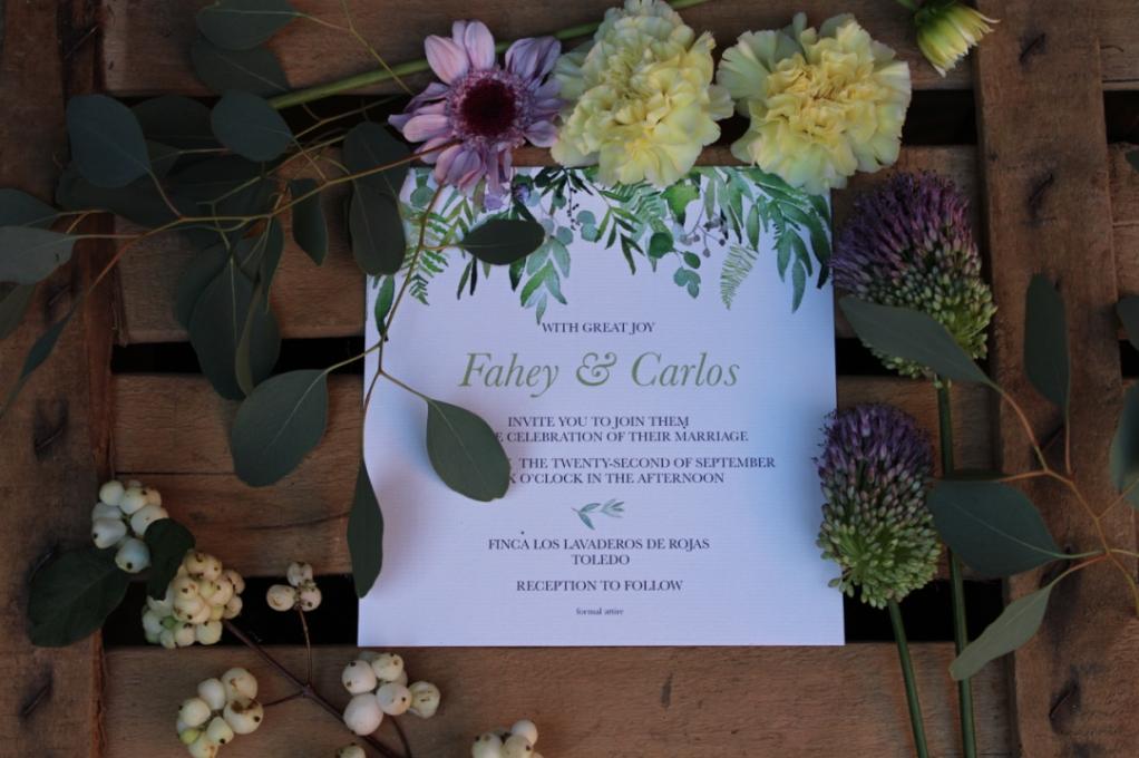 invitaciones de boda con acuarelas pintadas a mano