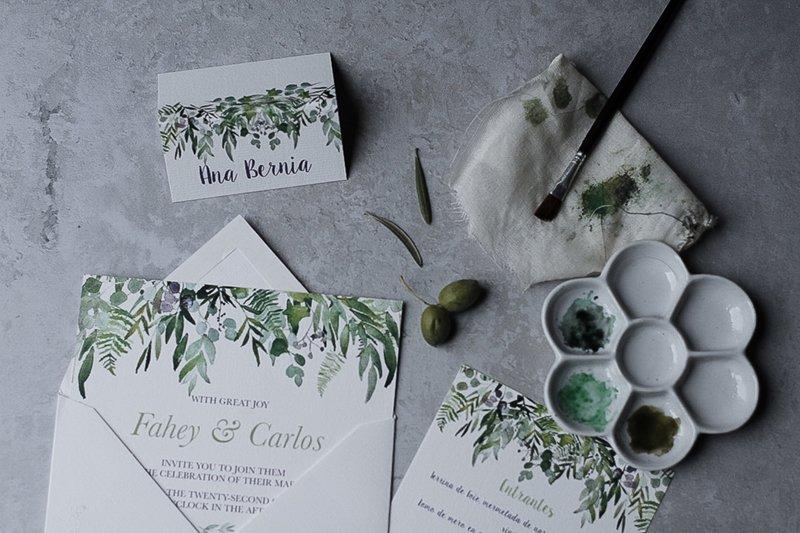 Invitaciones de boda Greenery con acuarelas pintadas a mano